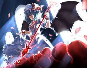 Rating: Safe Score: 62 Tags: blood blue_hair dress hat red_eyes remilia_scarlet rikkido tears touhou weapon wings User: FormX