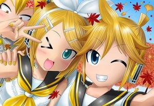 Rating: Safe Score: 17 Tags: akita_neru close kagamine_len kagamine_rin kazu-chan male vocaloid wink User: gnarf1975