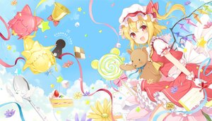 Rating: Safe Score: 67 Tags: 6u_(eternal_land) animal bell bird blonde_hair bow cake candy clouds dress fang flandre_scarlet flowers food gloves hakurei_reimu hat kirisame_marisa lollipop red_eyes ribbons short_hair sky stars teddy_bear touhou vampire waifu2x watermark wings User: RyuZU