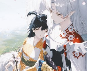 Rating: Safe Score: 43 Tags: armor black_hair bow cherry_blossoms cropped flowers grass inuyasha japanese_clothes katana kimono long_hair male petals pointed_ears ponytail rin_(inuyasha) sesshomaru sleeping sword tattoo waifu2x wanke weapon white_hair yellow_eyes User: otaku_emmy