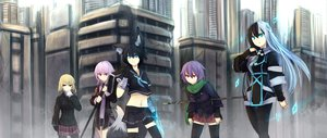 Rating: Safe Score: 137 Tags: animal_ears aqua_eyes building city ganesagi gloves nanako_(ganesagi) norah_bright original pink_hair red_eyes scarf school_uniform staff tail thighhighs weapon User: opai