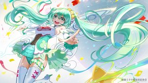 Rating: Safe Score: 19 Tags: breasts el-zheng flowers green_hair hatsune_miku thighhighs twintails vocaloid watermark User: RyuZU