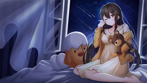 Rating: Safe Score: 43 Tags: barefoot bed brown_hair dress lancheu long_hair night original sky stars teddy_bear wink User: BattlequeenYume