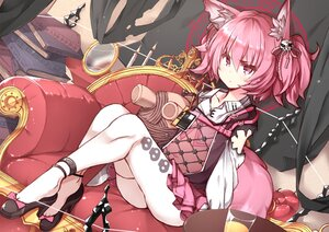 Rating: Safe Score: 45 Tags: animal_ears apple arknights book flat_chest food foxgirl fruit hasumi_takashi magic mirror pink_eyes pink_hair shamare_(arknights) short_hair tail teddy_bear thighhighs twintails User: otaku_emmy