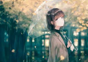 Rating: Safe Score: 129 Tags: black_hair cape hiten_goane_ryu leaves original purple_eyes rain short_hair tears umbrella water User: BattlequeenYume