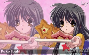 Rating: Safe Score: 17 Tags: clannad food gray_hair ibuki_fuuko key logo long_hair yellow_eyes zoom_layer User: 秀悟