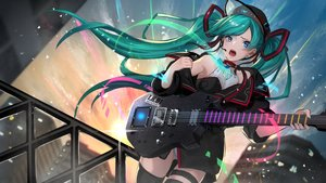 Rating: Safe Score: 42 Tags: aqua_hair asagon007 blue_eyes guitar hatsune_miku instrument leotard long_hair thighhighs twintails vocaloid User: Fepple