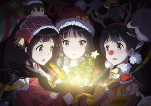 Rating: Safe Score: 65 Tags: akiyama_mio bell black_eyes black_hair blue_eyes blush bow brown_hair chibi chitanda_eru christmas crossover hat horns hyouka kitashirakawa_tamako k-on! long_hair ribbons short_hair tagme_(artist) tamako_market tree User: BattlequeenYume