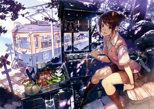 Rating: Safe Score: 98 Tags: brown_hair camera drink food kneehighs original scan seifuku shrine train tree vania600 User: mattiasc02