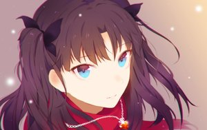 Rating: Safe Score: 176 Tags: black_hair blue_eyes close fate/stay_night heart_(z603458jj6) long_hair necklace ribbons tohsaka_rin twintails User: Flandre93