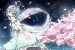 Rating: Safe Score: 111 Tags: cherry_blossoms dress flowers kaku_seiga komeshiro_kasu moon night petals stars touhou User: opai