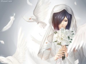 Rating: Safe Score: 54 Tags: animal bird feathers flowers kirishima_touka mazarinee purple_eyes purple_hair rose short_hair tokyo_ghoul wedding_attire User: Maboroshi