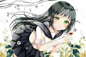 Rating: Safe Score: 50 Tags: animal black_hair bubbles fish green_eyes long_hair original school_uniform shiori_(shiori_2_14) underwater water User: BattlequeenYume