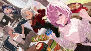 Rating: Safe Score: 35 Tags: amakusa_shirou animal_ears braids caenis_(fate) fate/grand_order fate_(series) food genderswap glasses gray_hair group long_hair mash_kyrielight purple_eyes qin_shi_huang short_hair wink yellow_eyes yu_(want_rou_nai_zi) User: BattlequeenYume