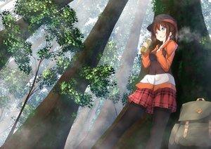 Rating: Safe Score: 21 Tags: aqua_eyes brown_hair drink forest hat hoodie long_hair numpopo original pantyhose ponytail skirt tree User: BattlequeenYume