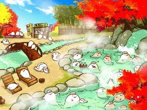 Rating: Safe Score: 15 Tags: animal autumn cat_smile drink gray_(artist) group onsen original sake towel tree umbrella water waterfall User: otaku_emmy