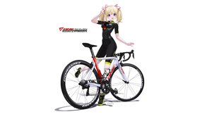 Rating: Safe Score: 30 Tags: bicycle bike_shorts blonde_hair hitomi_kazuya ribbons shorts skintight twintails watermark white User: gnarf1975