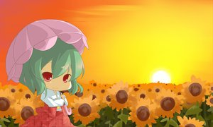 Rating: Safe Score: 22 Tags: chibi flowers green_hair haipa_okara kazami_yuuka red_eyes short_hair sunflower sunset touhou umbrella User: PAIIS