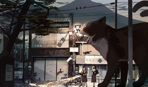 Rating: Safe Score: 140 Tags: 2girls animal bird black_hair building cat kukka multiple_tails original scenic school_uniform tail tree User: FormX