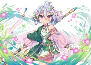 Rating: Safe Score: 35 Tags: dress flowers gray_hair loli magic natsume_kokoro pointed_ears princess_connect! red_eyes short_hair spear wagashi928 weapon User: BattlequeenYume