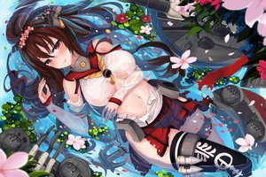 Rating: Safe Score: 37 Tags: anthropomorphism blush breasts brown_hair flowers garter kantai_collection navel petals ponytail red_eyes see_through sekigan skirt thighhighs torn_clothes waifu2x water yamato_(kancolle) User: RyuZU