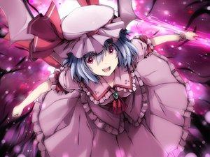 Rating: Safe Score: 50 Tags: 6u_(eternal_land) blue_hair dress hat remilia_scarlet short_hair touhou vampire wings User: Tensa