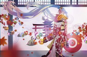 Rating: Safe Score: 55 Tags: aikakuv autumn fan hatsune_miku japanese_clothes kimono leaves long_hair torii twintails vocaloid User: FormX