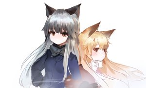 Rating: Safe Score: 9 Tags: 2girls anthropomorphism blonde_hair bow brown_eyes dokomon foxgirl gloves gray_hair kemono_friends long_hair red_fox_(kemono_friends) silver_fox_(kemono_friends) sketch white User: otaku_emmy