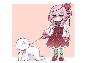 Rating: Safe Score: 28 Tags: blush bondage bow flowers kukie-nyan lolita_fashion nijisanji pantyhose pink pink_hair ponytail rose rosemi_lovelock third-party_edit User: otaku_emmy