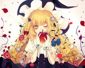 Rating: Safe Score: 73 Tags: apple blonde_hair bow collar daimaou_ruaeru flowers food fruit hat kirisame_marisa long_hair petals ribbons touhou wink witch witch_hat wristwear yellow_eyes User: mattiasc02