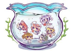 Rating: Safe Score: 60 Tags: blonde_hair blush book bubbles chibi glasses green_eyes green_hair group hat i-168_(kancolle) i-19_(kancolle) i-401_(kancolle) i-58_(kancolle) i-8_(kancolle) kantai_collection long_hair maru-yu_(kancolle) orange_eyes ponytail purple_hair red_eyes red_hair school_swimsuit seifuku short_hair swimsuit underwater water User: ArthurS91
