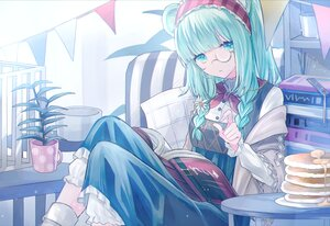Rating: Safe Score: 77 Tags: aqua_eyes aqua_hair arknights book dress flowers food glasses istina_(arknights) long_hair seia_(tikxxx) twintails User: Nepcoheart