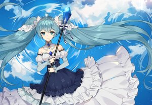 Rating: Safe Score: 48 Tags: aliasing aqua_hair blue_hair churi_(oxxchurixxo) clouds dress hatsune_miku long_hair sky staff tiara twintails vocaloid water yuki_miku User: otaku_emmy