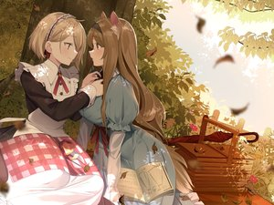 Rating: Safe Score: 123 Tags: 2girls aliasing animal_ears apple autumn book dress food fruit junp long_hair maid original short_hair shoujo_ai umbrella User: Dreista