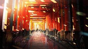 Rating: Safe Score: 95 Tags: original petals reflection scenic silhouette someya_mai torii User: RyuZU