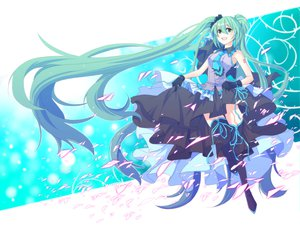 Rating: Safe Score: 42 Tags: aqua_eyes aqua_hair hatsune_miku kiko long_hair skirt thighhighs tie twintails vocaloid User: HawthorneKitty