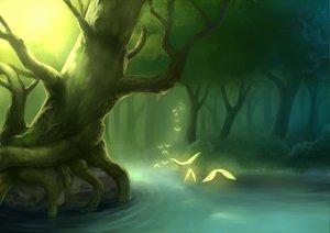 Rating: Safe Score: 80 Tags: animal bird forest landscape original otosama scenic tree water User: opai