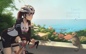 Rating: Safe Score: 45 Tags: animal bicycle bike_shorts bird breasts brown_hair building city hat long_hair ponytail purple_eyes shorts sky tienao tree water User: mattiasc02