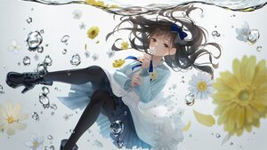 Rating: Safe Score: 55 Tags: boots bow brown_eyes brown_hair bubbles flowers gradient hanabasami_kyou nyaon_oekaki re:act shirt skirt underwater water User: BattlequeenYume