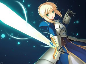 Rating: Safe Score: 131 Tags: armor blonde_hair cygnus dress fate/stay_night fate/zero gloves green_eyes saber sword weapon User: Maboroshi