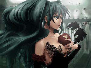 Rating: Safe Score: 129 Tags: apple aqua_hair breasts cleavage food fruit hatsune_miku long_hair twintails vocaloid User: HawthorneKitty