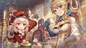 Rating: Safe Score: 22 Tags: 2girls blonde_hair blue_eyes bow breasts cake cape cleavage cross drink elbow_gloves food fruit genshin_impact gloves hat jean_gunnhildr klee_(genshin_impact) loli pointed_ears ponytail red_eyes short_hair strawberry torino_akua twintails User: otaku_emmy