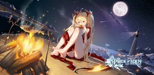 Rating: Safe Score: 14 Tags: 2girls aliasing bikini blonde_hair clouble fire food lighthouse logo long_hair moon night red:_pride_of_eden sky stars swimsuit tagme_(character) twintails water User: BattlequeenYume
