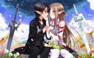 Rating: Safe Score: 148 Tags: flowers kirigaya_kazuto petals pointed_ears sword sword_art_online swordsouls weapon yui_(sword_art_online) yuuki_asuna User: opai