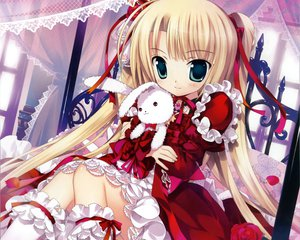 Rating: Safe Score: 220 Tags: blonde_hair bunny cropped fujima_takuya loli lolita_fashion original ribbons twintails User: Wiresetc