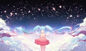 Rating: Safe Score: 67 Tags: aqua_hair dress flowers gomzi hatsune_miku long_hair petals ribbons signed twintails vocaloid wings User: RyuZU