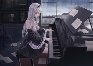 Rating: Safe Score: 90 Tags: apron breasts building city cleavage clouds headband instrument long_hair maid original paper piano rain red_eyes sky turbulence water white_hair User: BattlequeenYume