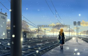 Rating: Safe Score: 120 Tags: blonde_hair clouds long_hair original scarf snow train User: Dust
