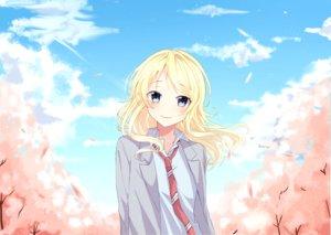 Rating: Safe Score: 39 Tags: blonde_hair blue_eyes blush clouds long_hair miyazono_kaori miyo_(user_zdsp7735) petals school_uniform shigatsu_wa_kimi_no_uso sky tie User: RyuZU