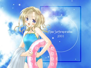 Rating: Safe Score: 0 Tags: blonde_hair blue_eyes miss_surfersparadise swim_ring swimsuit User: Oyashiro-sama